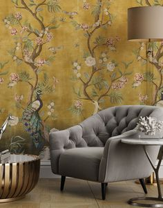 A stunning new Chinoiserie wallpaper, featuring exotic animals and cherry blossoms climbing a subtly distressed wall. Shabby Chic Wallpaper, Chinoiserie Wallpaper, Hand Painted Wallpaper, Wall Wallpaper, Stairway Walls, Perfect Wallpaper, Exotic Pets, Exotic Animals, Singular