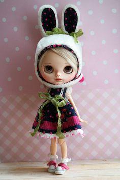 Blythe Set Dress & Bunny Helmet by Cihui di BlythebyCihui su Etsy
