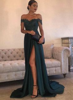 Green A line lace off shoulder long prom dress, formal dress