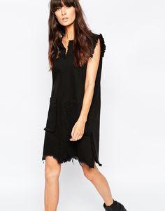 Waven+Oversized+Sleeveless+Denim+Shift+Dress+With+Raw+Hem+Detail+&+Front+Pockets