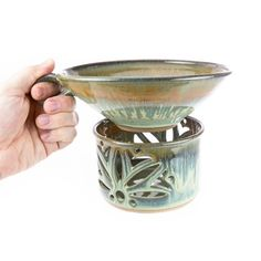 Queso Warmer / Hot dip warmer. Hand thrown pottery carved by hand in Patina glaze / Party dish / warming dish /