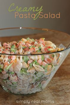 "Creamy Pasta Salad: w broccoli, shells, peas, carrots, cheese & ranch dressing. ""Hands down the best side dish ever. Makes the perfect MAIN dish on a hot day, too!"""