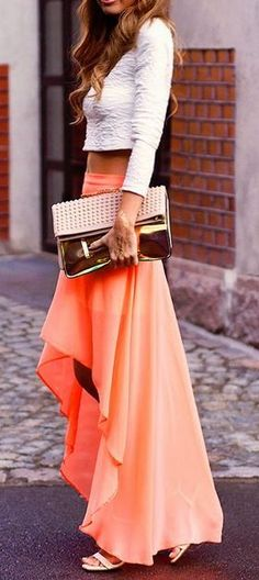 #street #style peach maxi + crop top @wachabuy