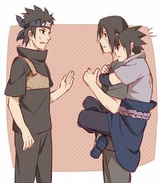 Haha so adorable!  No one will take your brother away. Not my art.  #uchiha #sasuke #itachi #shisui