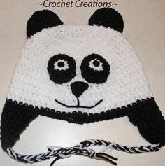Crochet Panda Bear Child Ear flap Hat pattern by Amy Lehman