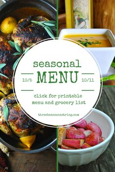 The best preplanned menus with complete grocery lists ! Healthy meals based on seasonal ingredients.