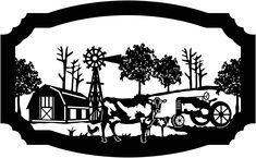 Sign Farm scene of Barn, cow, calf, rooster, windmill and old tractor illustrated in decorative view DXF file cut ready for cnc machines Tractor Silhouette, Silhouette Art, Plasma Cutter Art, Scroll Saw Patterns Free, Free Pattern, Cross Patterns, Art Patterns, Farm Signs, Plasma Cutting