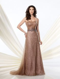 a966f3cb3b0 Montage by Mon Cheri 214940 Strapless lace and illusion A-line dress with softly  curved neckline