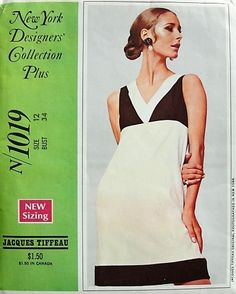 1960s MOD Jacques Tiffeau Dress and Jacket McCall's 1019 Bust 34 Vintage Sewing Pattern