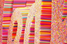 Typographic sculpture made of straws FarmGroup