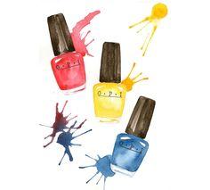 OPI Nagellacke - Aquarell-Make-up-Abbildung von MilkFoam auf Etsy https://www.etsy.com/de/listing/162598489/opi-nagellacke-aquarell-make-up