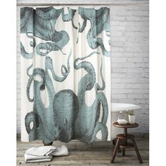 Thomas Paul Pulpo Octopus Cotton Shower Curtain