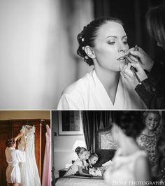 Bride getting ready.  Matfen Hall by Durham based wedding photographers 2tone Photography