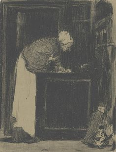 Vuillard, Edouard French, 1868 - 1940 Old Woman at a Stove (Vielle Femme au Fourneau) 1893 lithograph in black on tan wove paper; laid down Edouard Vuillard, Amsterdam, Japanese Woodcut, Van Gogh Museum, National Gallery Of Art, Art Institute Of Chicago, Western Art, French Artists, Old Women