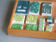 Genine Zlatkis' carved stamps