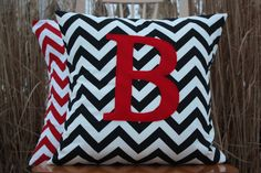 Monogrammed Pillow for the Modern Nursery:  Pillow Cover  Black Chevron and Red by nest2impress,