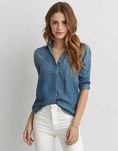 AEO Denim Boyfriend Shirt , Medium Wash | American Eagle Outfitters