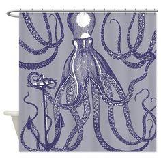 Vintage Purple On Designers Grey Shower Curta Octopus Curtains Anchor