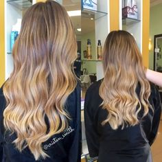 I loved creating this honey blonde balayage ombrè for my my client! She had a nice base color to work with so I left that alone and created a soft contrast by lightening through the bottom. This helped to give the color a lot of depth and movement. Finished with a cut and beach waves by my assistant, @stylesbyessey! #beautybycristen