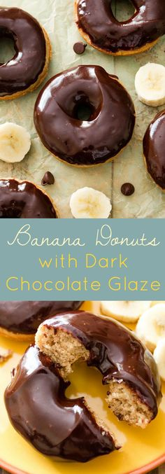 These moist banana donuts are baked, not fried-- and dipped into a super easy dark chocolate glaze!