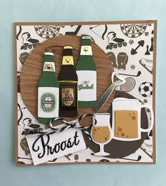Marianne Design Cards, Pop Bottles, Greeting Cards Handmade, Card Ideas, Scrapbooking, Drinks, Frame, Crafts, House