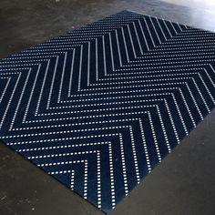 Geometric Rug Midnight Blue Blue Rug Bedroom Rug by HawkerPeddler