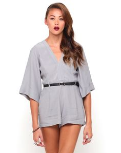 Motel Jude Kimono Sleeve Playsuit in Silver Grey, TopShop, ASOS, House of Fraser, Nasty gal