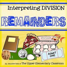 Interpreting Division Remainders - Hands-On Centers, Task Cards, Class Examples. A really fun way to teach kids what those remainders really mean!