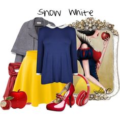 Snow White - Disney by rubytyra on Polyvore featuring moda, Joules, Tory Burch, LE3NO, Mossimo, Lacoste, Beats by Dr. Dre, disney, snowwhite and disneybound
