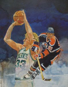 Larry Bird and Wayne Gretzky acrylic on canvas by Bart Forbes