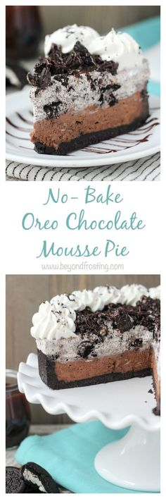 It's all about the layers with this No-Bake Oreo Chocolate Mousse Pie. The thick Oreo crust is filled with a quick chocolate mousse, followed by a layer of easy Oreo mousse and topped off with more chocolate and whipped cream.