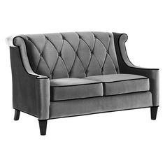 Gray Tufted Loveseat
