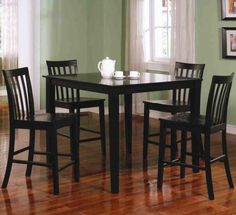 A gloss black finish gives the Benzara Classy 5 Piece Wooden Counter Height Dining Table Set its modern elegance. To complement your busy, modern. Dining Room Furniture Sets, Coaster Fine Furniture, Dining Room Sets, Dining Chairs, Dining Area, Furniture Decor, Furniture Design, Furniture Village, Dinning Set