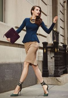 Navy long sleeve peplum blouse, brown skirt, chunky gold necklace | chic officewear