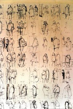 Sef Berkers. Studio wall, 8 - 2 / 17 - 2 / 18 - 2 - 1994, NS-station Venlo, Holland, east-Indian ink on paper.