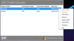 WiFi Profile Manager 8: View Preferred Wireless Network Profiles in Windows 8