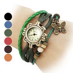 Frauen-Schmetterling-Stil Leder Analog Quarz Armbanduhr (farblich sortiert) – EUR € 9.19