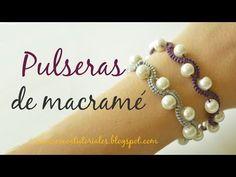Cómo hacer una pulsera bonita con macramé y perlas. Nudo alondra #70 - YouTube Macrame Bracelet Diy, Macrame Art, Macrame Knots, Macrame Jewelry, Beaded Bracelets, Handmade Bracelets, Handmade Jewelry, Magic Knot, Micro Macramé