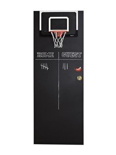 the Back of a Door for a Kid's Room DIY idea for decorating a door. Paint with black chalkboard paint and attach a coordinating basketball hoop. This was intended for a kid's room/playroom, but it looks pretty neutral and I like it. Black Chalkboard Paint, Diy Chalkboard, Ideas Habitaciones, Bedroom Doors, Room Pictures, Kids Bedroom, Room Kids, Kids Rooms, Boy Rooms