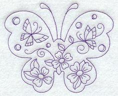 Spring Scene - Butterfly (Redwork)