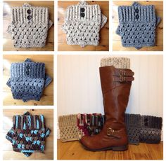 Crochet Boot Cuffs With Buttons - Many Colors Available! by GrindleHillFineGoods on Etsy