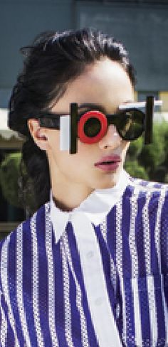 Genlux Magazine Summer 2014 features Mercura Pop Art Glamour Sunglasse Off to the Races Photography: Yoshi Ohara  Stylist: Amy Mach Model: Angela Jonsson / Vision Models
