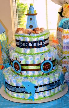 nautical diaper cake for baby boy shower | Nautical Diaper Cake Cake Ideas and Designs