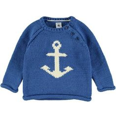 Babies Anchor Print Knitted Jumper Blue ($68) ❤ liked on Polyvore featuring tops, anchor print top and blue top