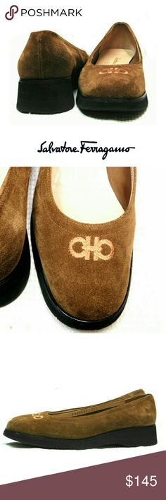 """SALVATORE FERRAGAMO TOFFEE COLOR SUEDE SLIP ONS SALVATORE FERRAGAMO TOFFEE COLOR SUEDE SLIP ONS  Pre-Loved/EUC! / Made in Italy #DR44047 A29 SZ 7 1/2B Suede Toffee Color  Suede Slip Ons w/ Embroidered  Front Logo Heel 1 1/4"""" These Have Barely Been Worn. Suede Has No Barely or Water Spots Pls See All Pics. Ask ? If Not Sure Salvatore Ferragamo Shoes Flats & Loafers"""