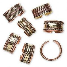 Lot 6 COPPER Brass FINGER /TOE RINGS MED/Large Size MIX