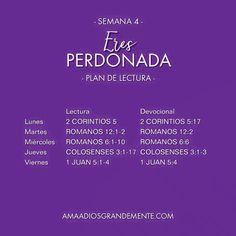 Plan de lectura Semana 4 de nuestro estudio ERES PERDONADA  #perdon #AmaaDiosGrandemente#LGGEspañol #LGG #ComunidadADG#Devocionalparamujeres #Estudiobiblicoenlinea #Biblia#Dios