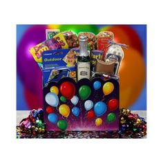 Celebration This fabulous celebration gift is a complete collection of items to help celebrate with co-workers, friends and family. Complete with multi-colored balloons (30 pack), two party poppers, package of confetti (1oz), disposable camera (27 photos), champagne bottle candle see more at www.jamie.labellabaskets.com