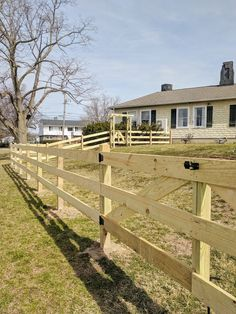 Learn how to layout and install this simple post and rail fence with easy to source materials. Tool recommendations and our step by step process included! Diy Backyard Fence, Farm Fence, Driveway Landscaping, Diy Fence, Fence Ideas, Garden Ideas, Post And Rail Fence, Split Rail Fence, T Post Fence