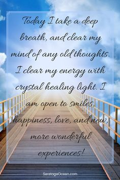 It a new day!♡♡♡When you clear your mind and energy of the old, you make room for the new. Use this simple affirmation to help you release old thoughts and energetic debris. Clear the way and be open for beautiful new blessings to enter your life! Daily Positive Affirmations, Morning Affirmations, Positive Thoughts, Positive Quotes, Wealth Affirmations, Healing Light, Law Of Attraction Quotes, Affirmation Quotes, Life Quotes